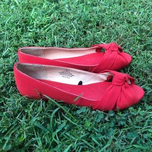 H&M Red Bow Flats Sz 8